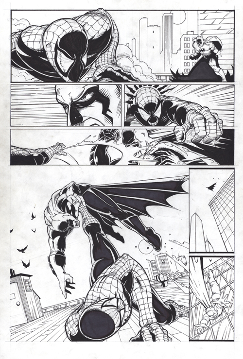 Spider-man fighting batman