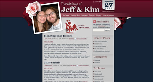 Wordpress Theme for Jeff and Kim's Wedding Website