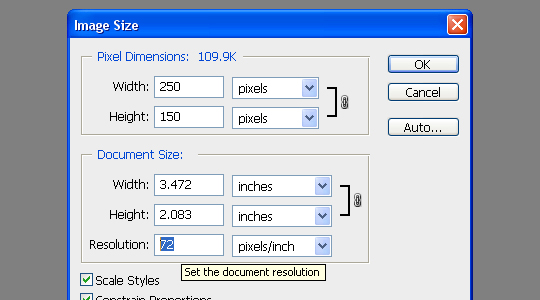 photoshop document settings