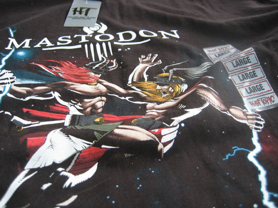 Mastodon shirt, designed by Bill Beachy, is available at Hot Topic