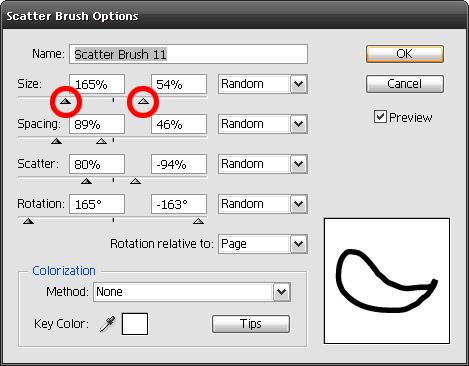 scatter brush parameters