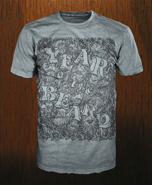 Year of the Beard tee mocked up on Bare Apparel shirts