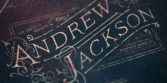 close up of the Andrew Jackson typography