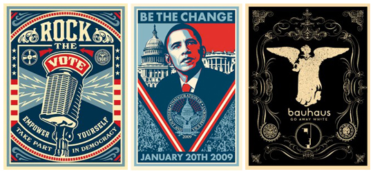 Shepard Fairey - Obey Giant - Rock the vote poster - Inauguration poster - Bauhaus band