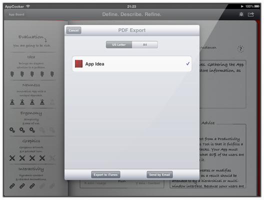 App Cooker - The app idea screen