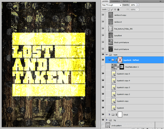 SAoS Lost and Taken poster tutorial - Type texture 04