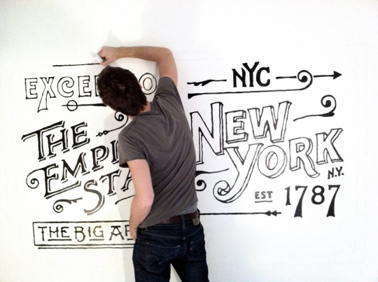 Dan working on his recent Ace Hotel Mural