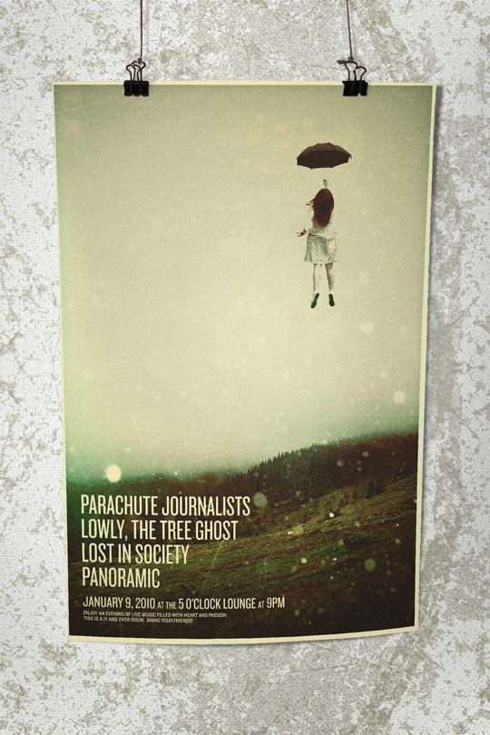 SAoS - 13 Spade - Parachute Journalists gig poster