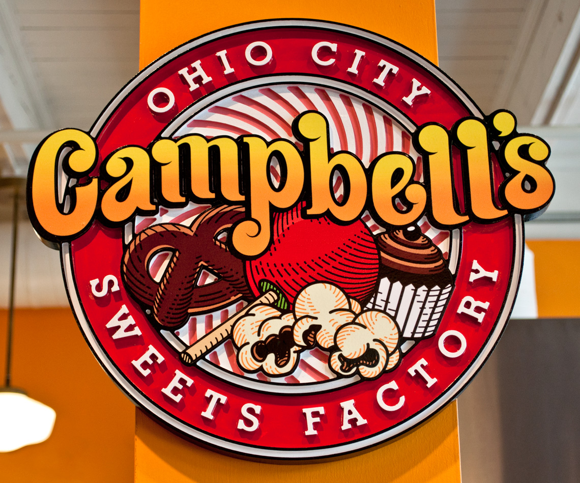 Campbell's Popcorn Shop Logo Carving