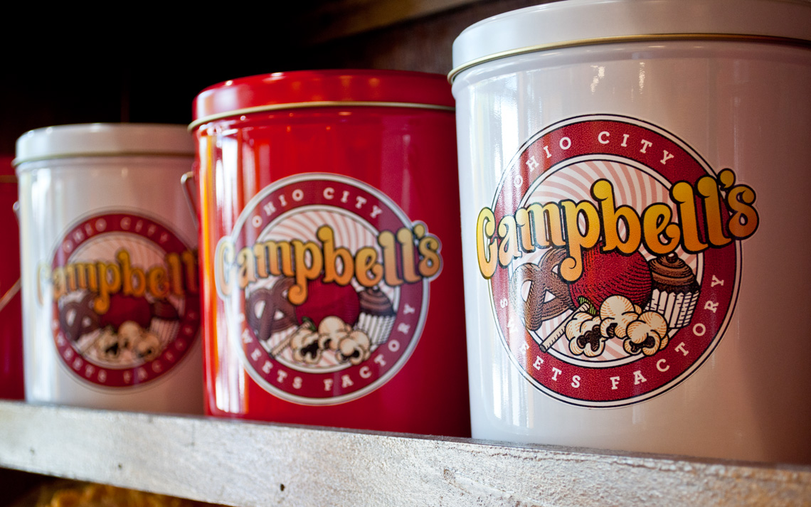 Campbell's Ohio City Sweets Factory Logo Design on tins