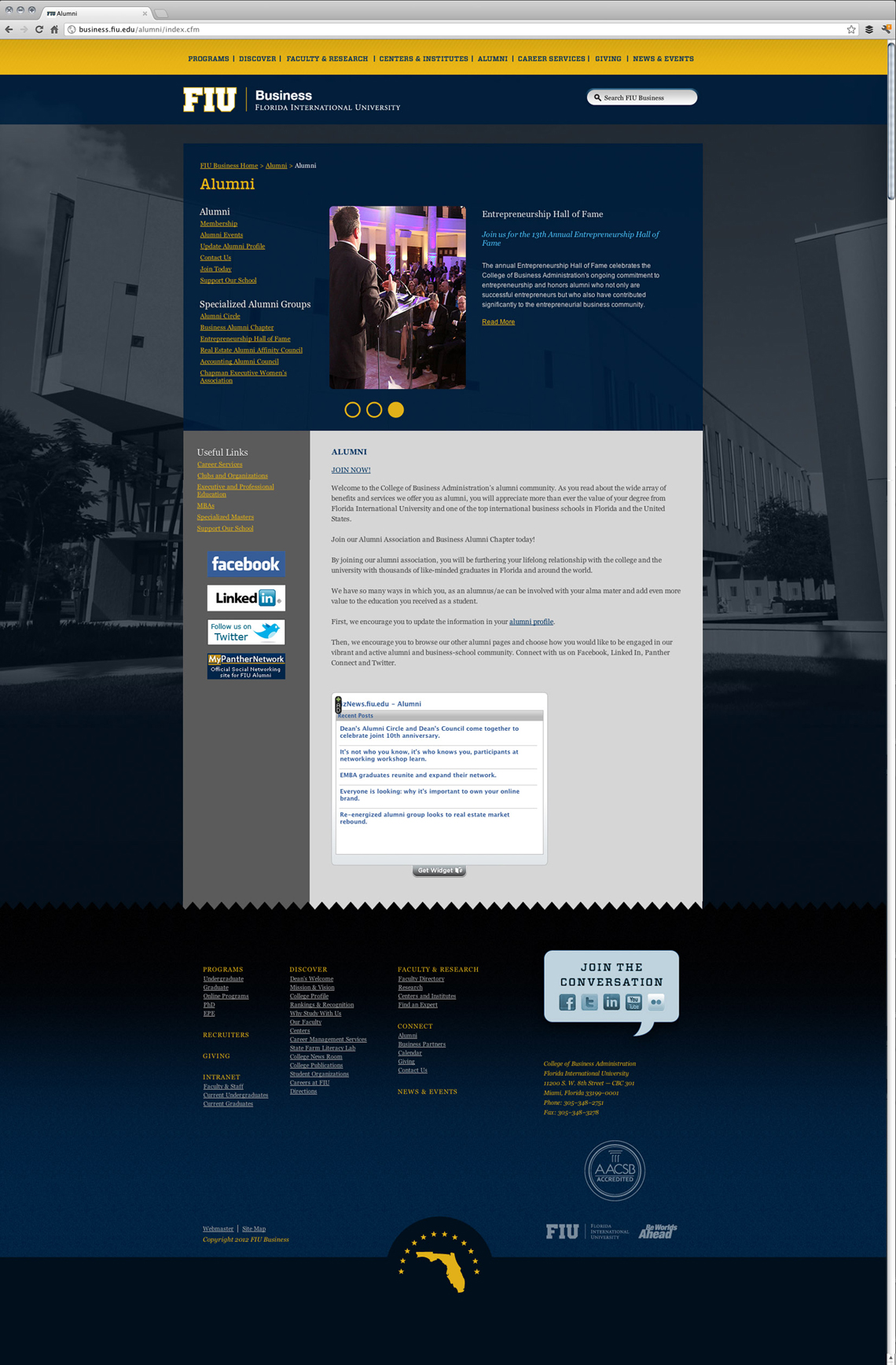 FIU Business Website Design Alumni Page