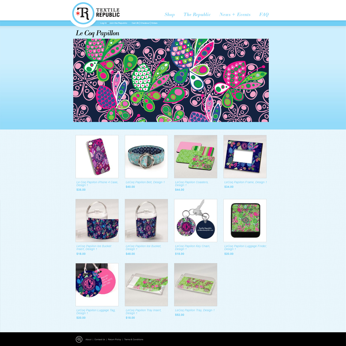 Textile Republic Website Design pattern page