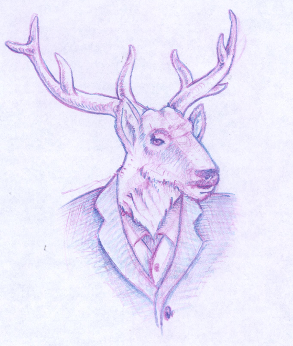 Red Stag Mascot Design Sketches
