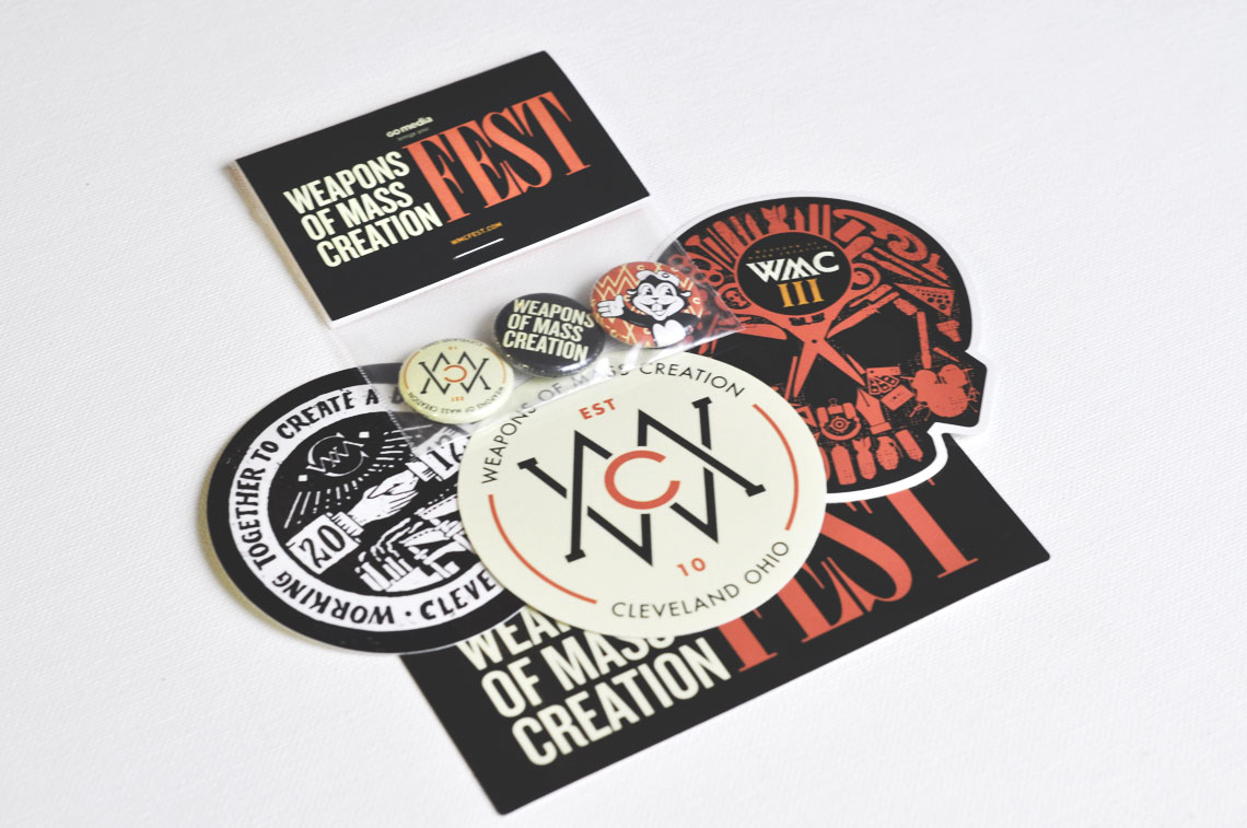 wmc fest stickers and buttons