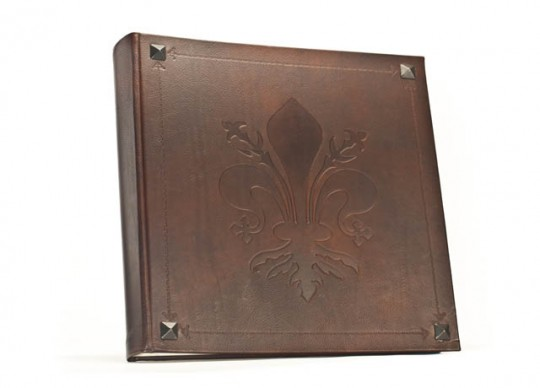 Fleur de lys Italian Leather Album with Metal Nail Heads