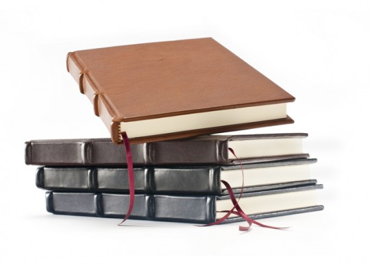 7x10 inch Italian leather writing journal in four colors