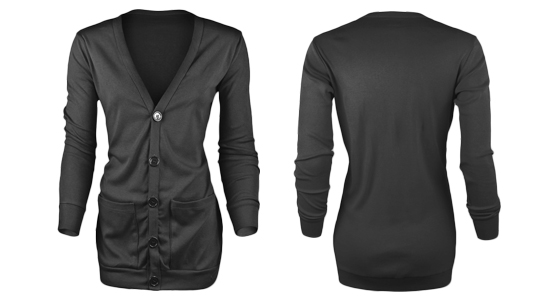 Ladies Ribbed Pocket Cardigan - Ghosted