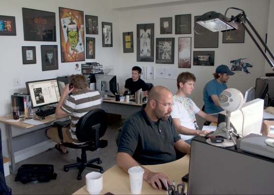 Bill Beachy, Adam Wagner, Dave Romsey, Chris Comella and Tim Boesel hard at work in the original Go Media headquarters.