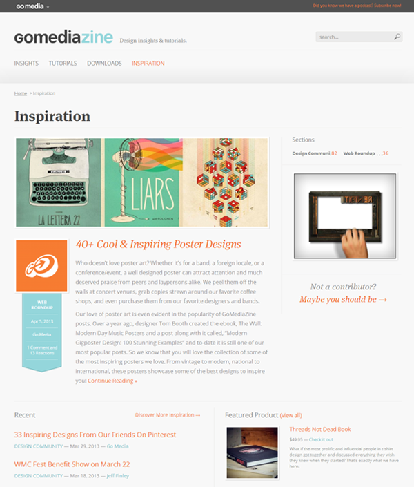 GoMediaZine Website Design - inspiration page
