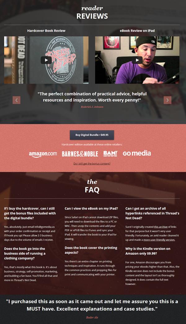 Thread's Not Dead Website Design Interior Page