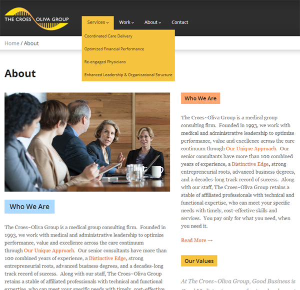 Croes Oliva Group Website Design Interior Webpage 2