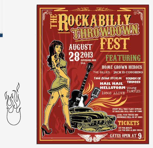 Create a Rockabilly Poster With Vector Set 22 - Adding the flames in the background