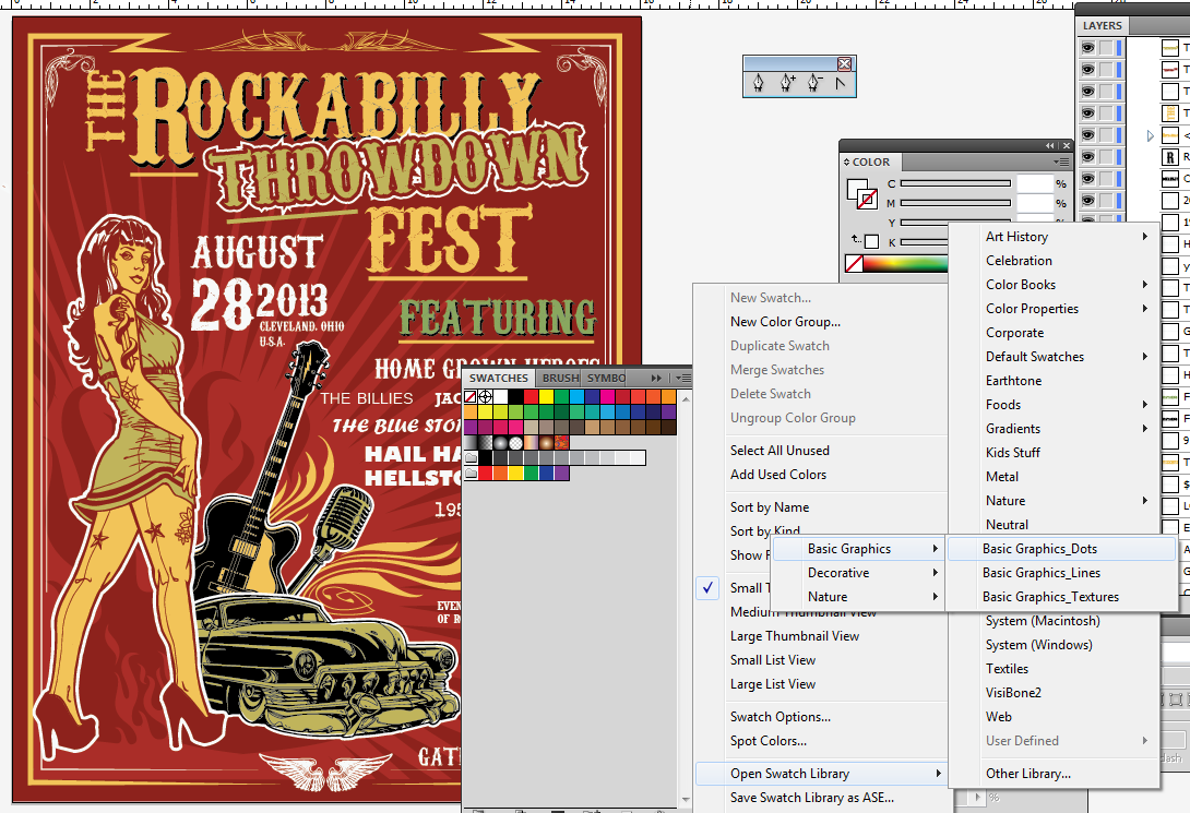 Create a Rockabilly Poster With Vector Set 22 - Pinup lines color change