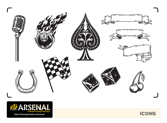 Go Media's Arsenal - Vector set 22 - Rockabilly icons