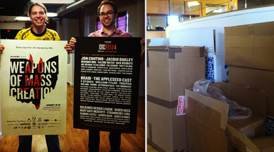 Posters are in ... and ... boxes, boxes everywhere!  WMC Fest goodies surround us!