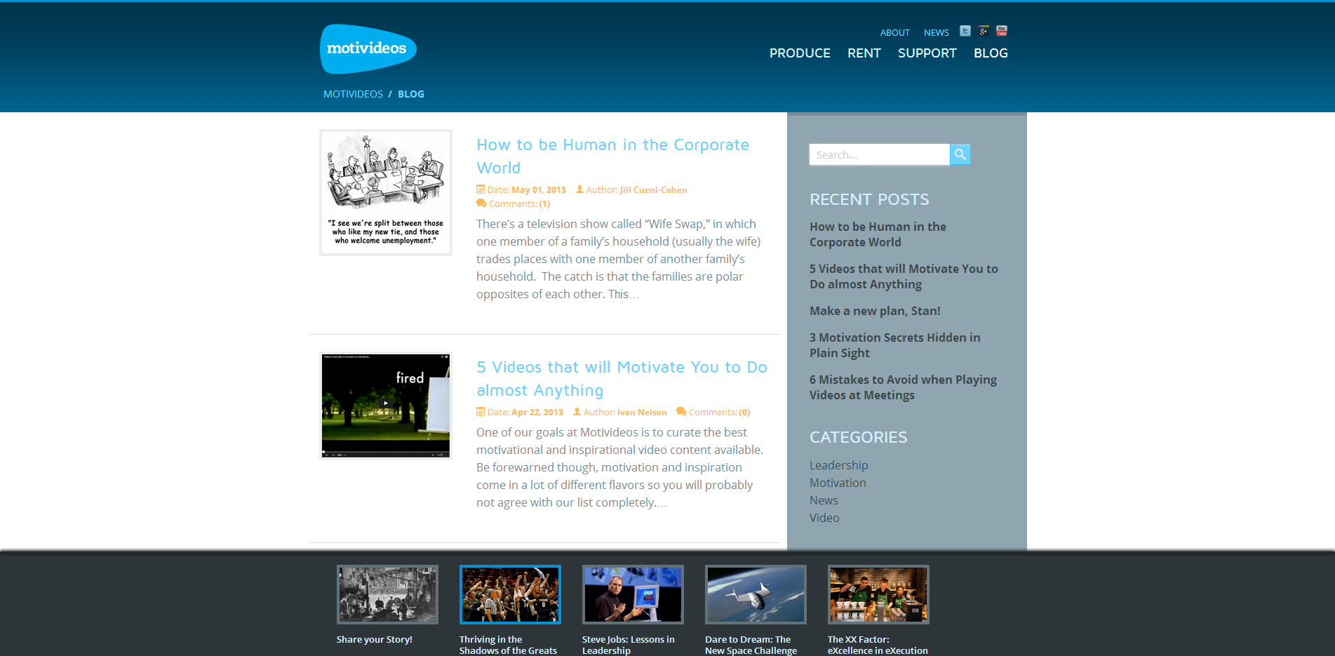 Motivideos Website Design Blog Page
