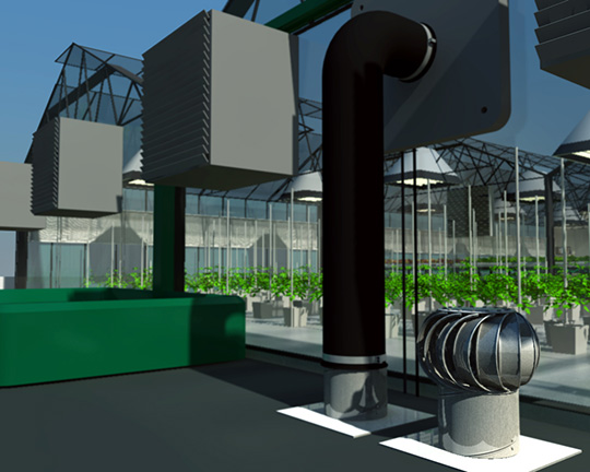 Every aspect of the rooftop greenhouse was depicted, including the vents and a water bin that catches and recycles rainwater.