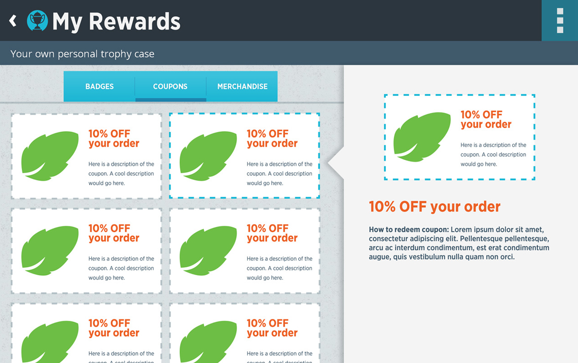 Tomra App Design Rewards Page