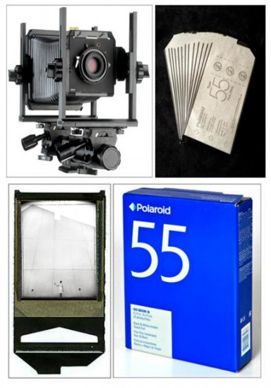 Polly's Favorite Tools include a 4x5 Camera and Polaroid film