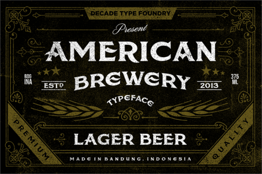 American Brewery Rough Font by Decade Type Foundry seen on Font Space
