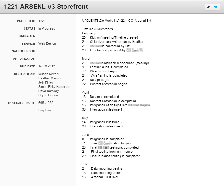 Original timeline for the Arsenal v3 - February to July 2012