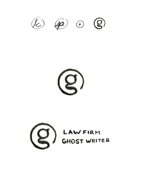 Law Firm Ghost Writer Logo Design Concept Sketches