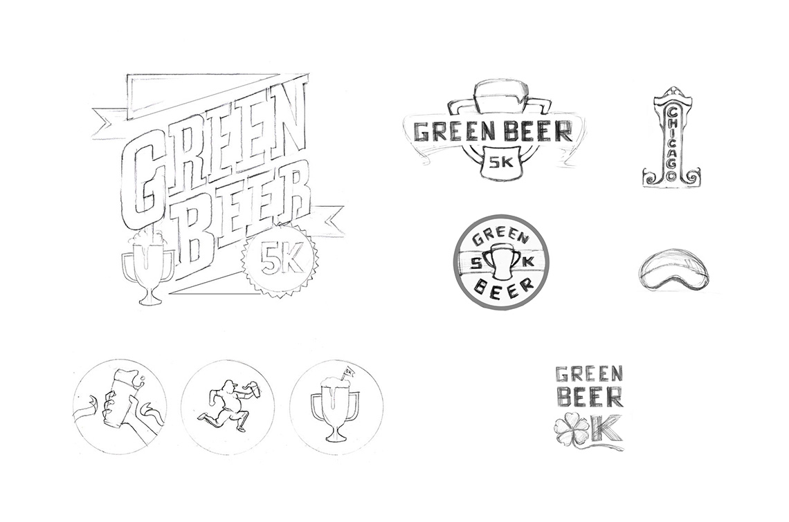 Green Beer 5K Logo Design Sketches