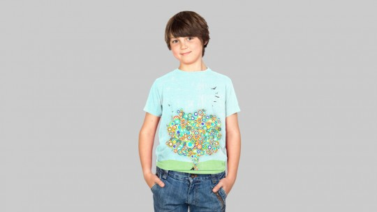 Kids T-Shirt, Modelshot_gray