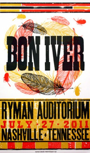Bon Iver Hatch Show Print by Lincoln Arts Project