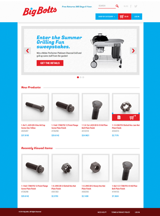 Earnest Machine - Big Bolts Website Design - Homepage