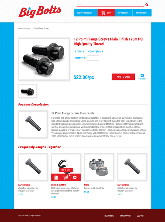 Earnest Machine - Big Bolts Website Design - Product Page