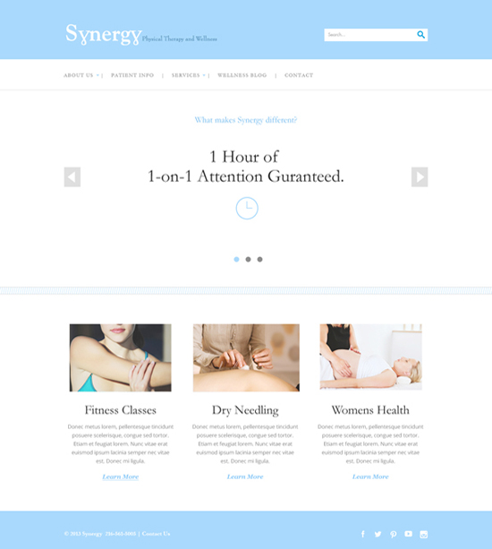 Synergy Physical Therapy Website Design - Homepage 4