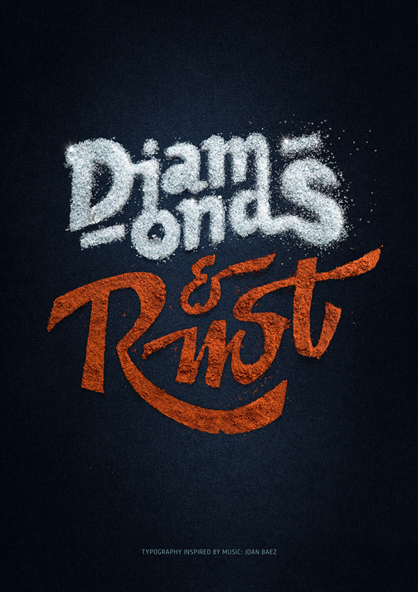 """Diamonds and Rust"" Typography Poster by Alex Timokhovsky and Lignature Collective"