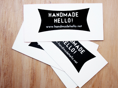 Handmade Hello! Logo Design and Hand Sceenprinted business cards by Jade Jefferies