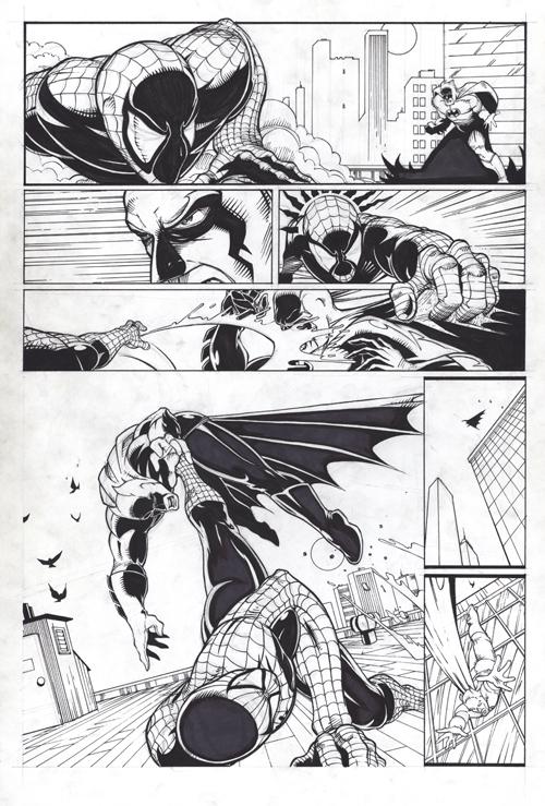 Spider-man fighting batman