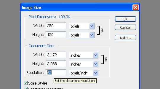 photoshop document settings