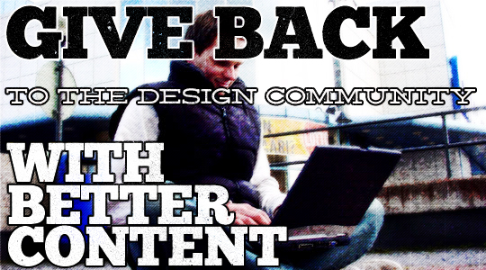 Give More to the Design Community with Better Content - Header by Studio Ace of Spade