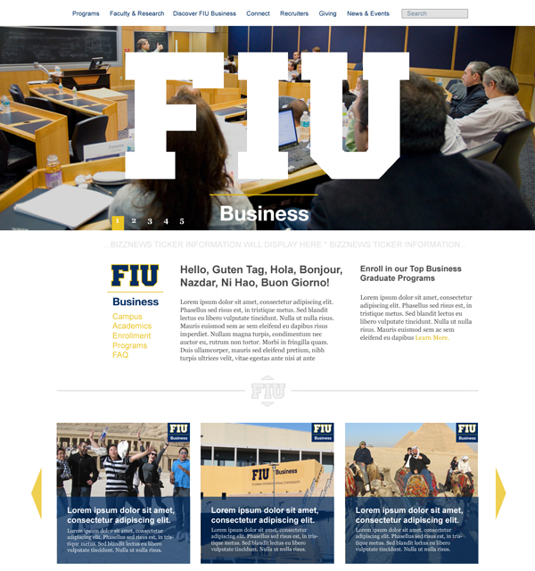 FIU Business Website Design Homepage