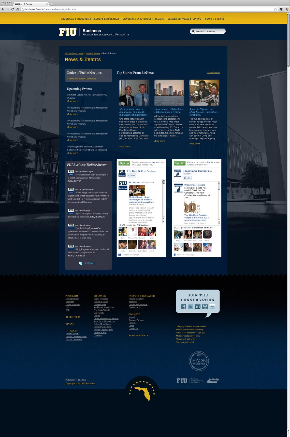 FIU Business Website Design News & Event Page
