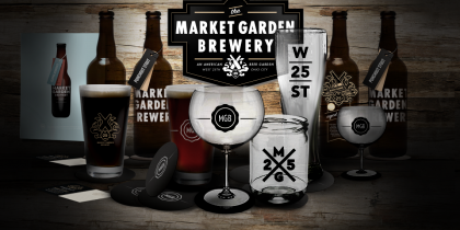 Market Garden Branding - Glasses and Bottles